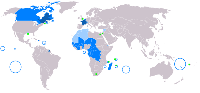 """New-Map-Francophone World"" von aaker - Eigenes Werk. Lizenziert unter Gemeinfrei über Wikimedia Commons - https://commons.wikimedia.org/wiki/File:New-Map-Francophone_World.PNG#/media/File:New-Map-Francophone_World.PNG"